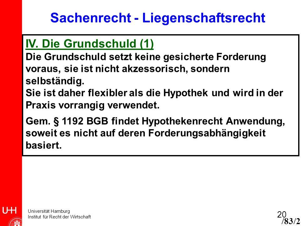 Universität Hamburg Institut für Recht der Wirtschaft 20 /83/2 Sachenrecht - Liegenschaftsrecht IV. Die Grundschuld (1) Die Grundschuld setzt keine ge