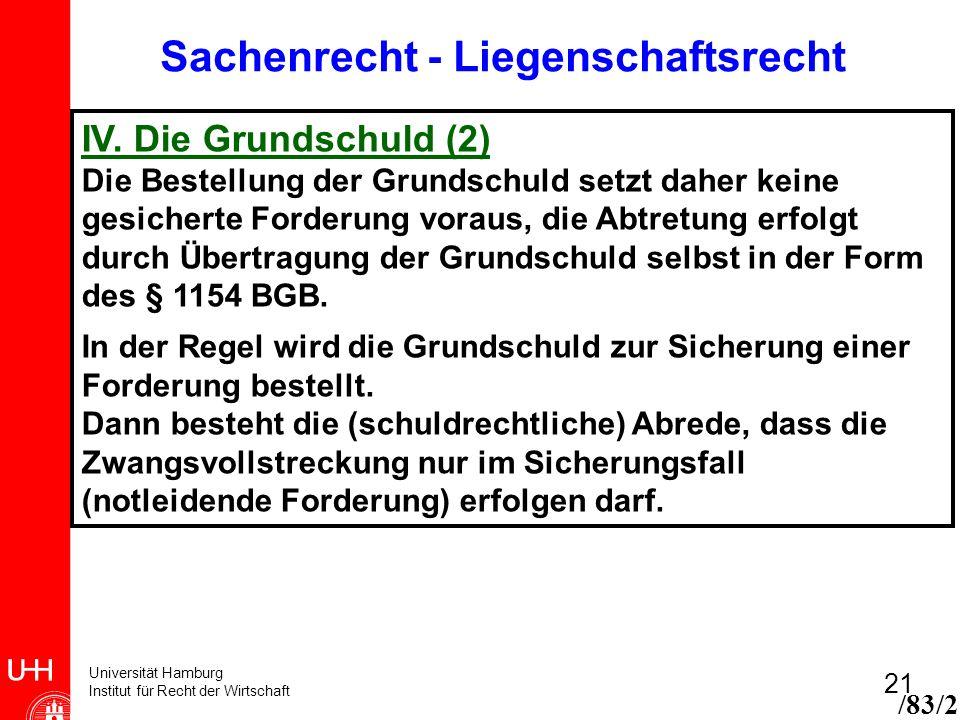 Universität Hamburg Institut für Recht der Wirtschaft 21 /83/2 Sachenrecht - Liegenschaftsrecht IV. Die Grundschuld (2) Die Bestellung der Grundschuld