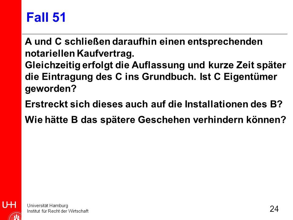 Universität Hamburg Institut für Recht der Wirtschaft 24 Fall 51 A und C schließen daraufhin einen entsprechenden notariellen Kaufvertrag. Gleichzeiti