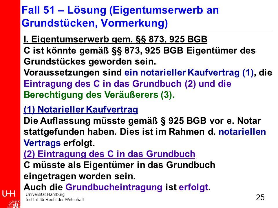 Universität Hamburg Institut für Recht der Wirtschaft 25 I. Eigentumserwerb gem. §§ 873, 925 BGB C ist könnte gemäß §§ 873, 925 BGB Eigentümer des Gru