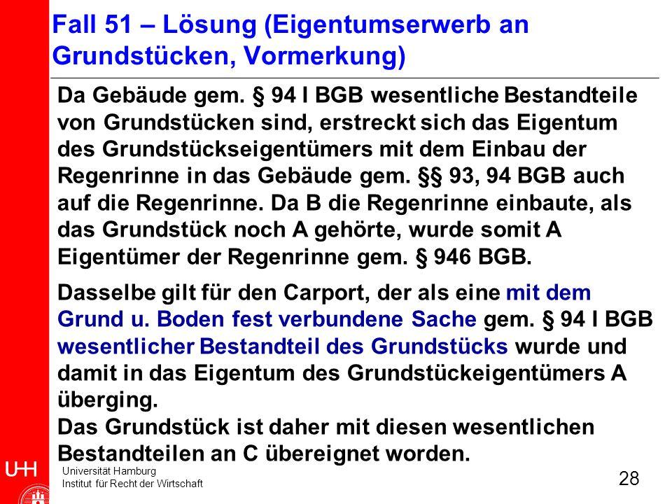 Universität Hamburg Institut für Recht der Wirtschaft 28 Da Gebäude gem. § 94 I BGB wesentliche Bestandteile von Grundstücken sind, erstreckt sich das