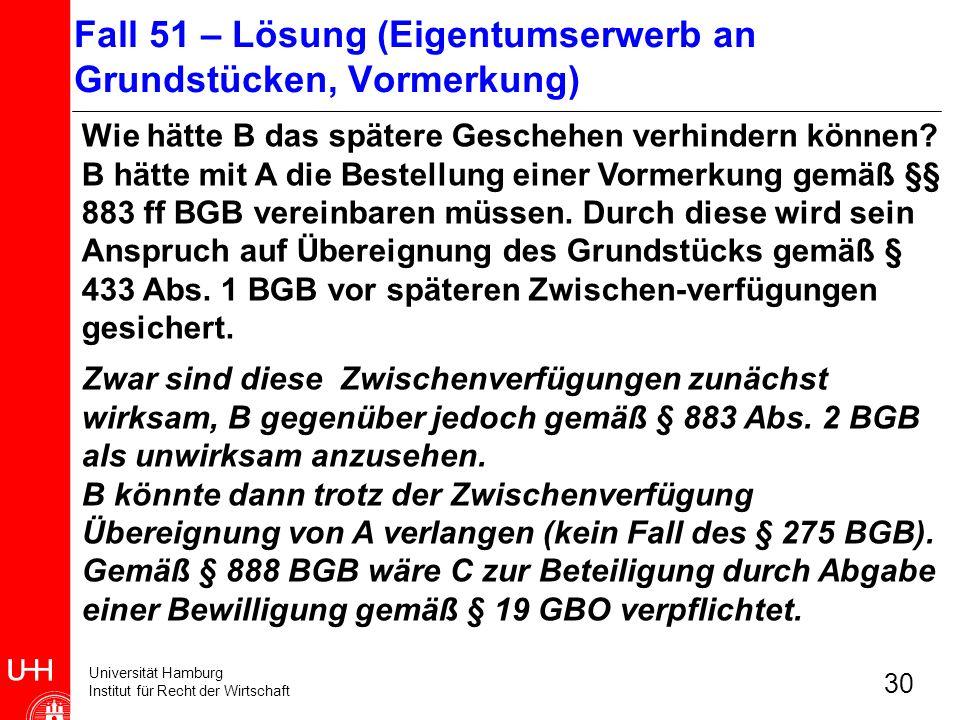 Universität Hamburg Institut für Recht der Wirtschaft 30 Wie hätte B das spätere Geschehen verhindern können? B hätte mit A die Bestellung einer Vorme