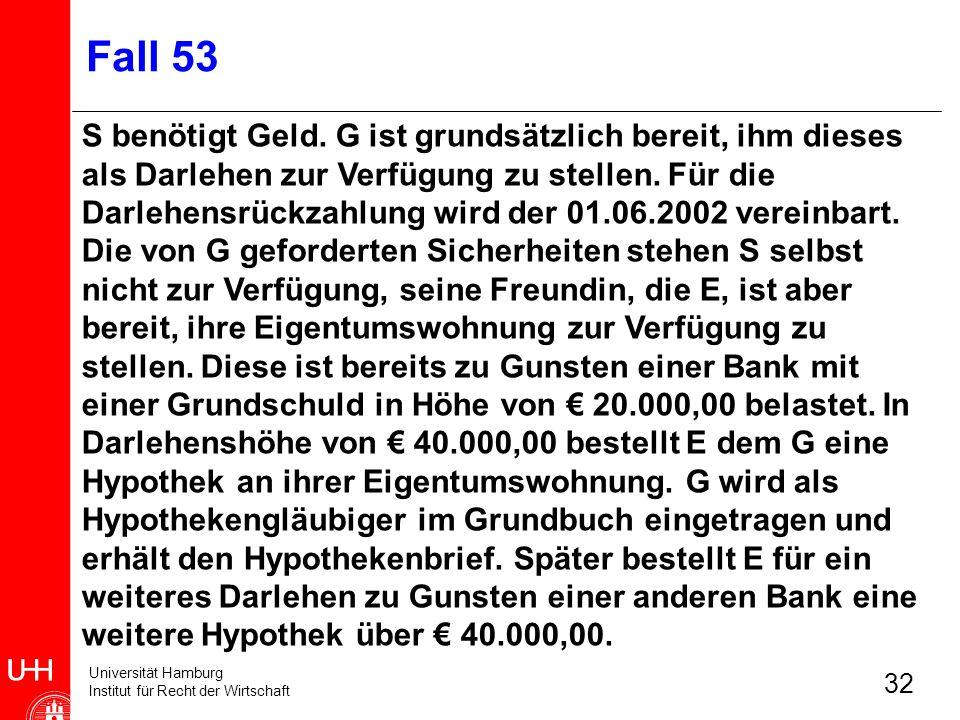 Universität Hamburg Institut für Recht der Wirtschaft 32 Fall 53 S benötigt Geld. G ist grundsätzlich bereit, ihm dieses als Darlehen zur Verfügung zu