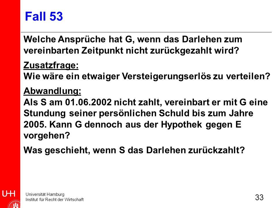 Universität Hamburg Institut für Recht der Wirtschaft 33 Fall 53 Welche Ansprüche hat G, wenn das Darlehen zum vereinbarten Zeitpunkt nicht zurückgeza