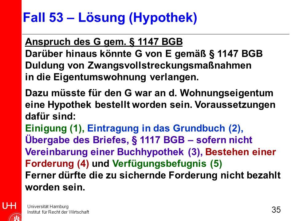 Universität Hamburg Institut für Recht der Wirtschaft 35 Anspruch des G gem. § 1147 BGB Darüber hinaus könnte G von E gemäß § 1147 BGB Duldung von Zwa