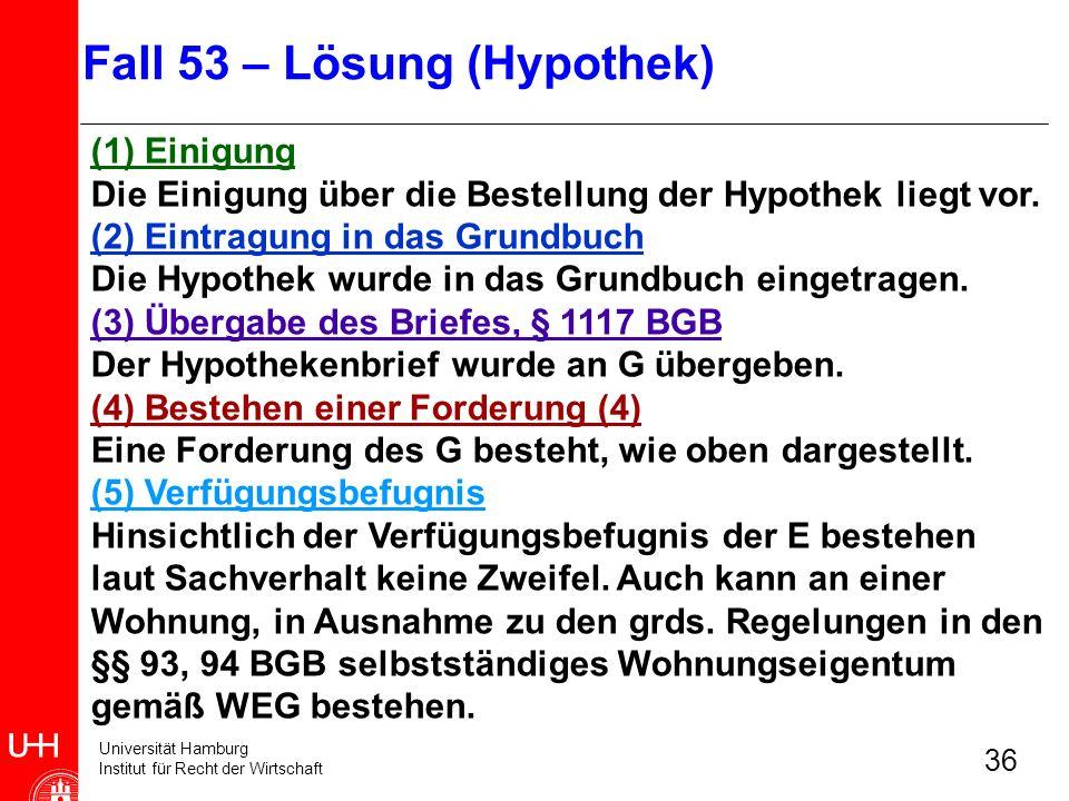 Universität Hamburg Institut für Recht der Wirtschaft 36 (1) Einigung Die Einigung über die Bestellung der Hypothek liegt vor. (2) Eintragung in das G