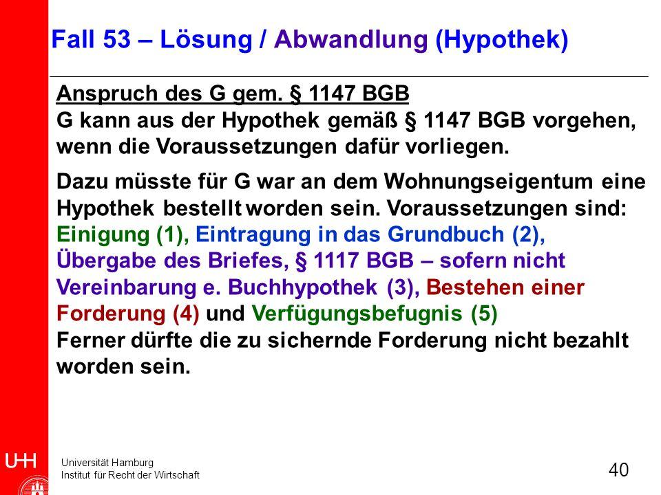 Universität Hamburg Institut für Recht der Wirtschaft 40 Anspruch des G gem. § 1147 BGB G kann aus der Hypothek gemäß § 1147 BGB vorgehen, wenn die Vo