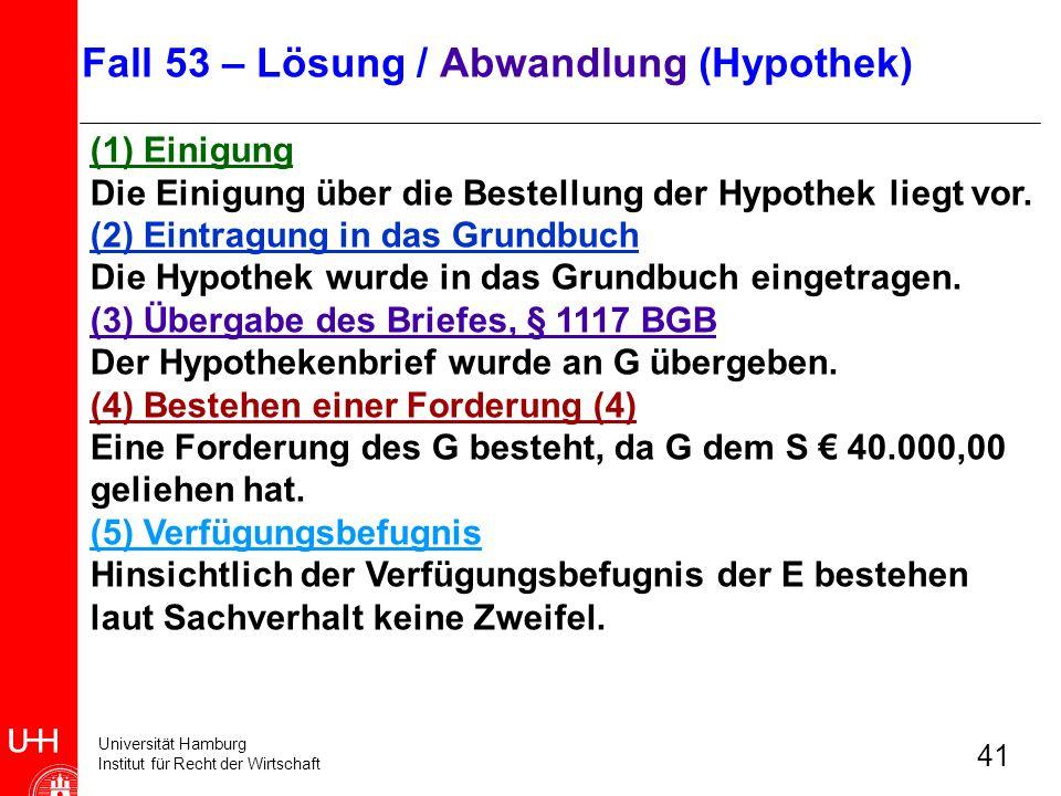 Universität Hamburg Institut für Recht der Wirtschaft 41 (1) Einigung Die Einigung über die Bestellung der Hypothek liegt vor. (2) Eintragung in das G