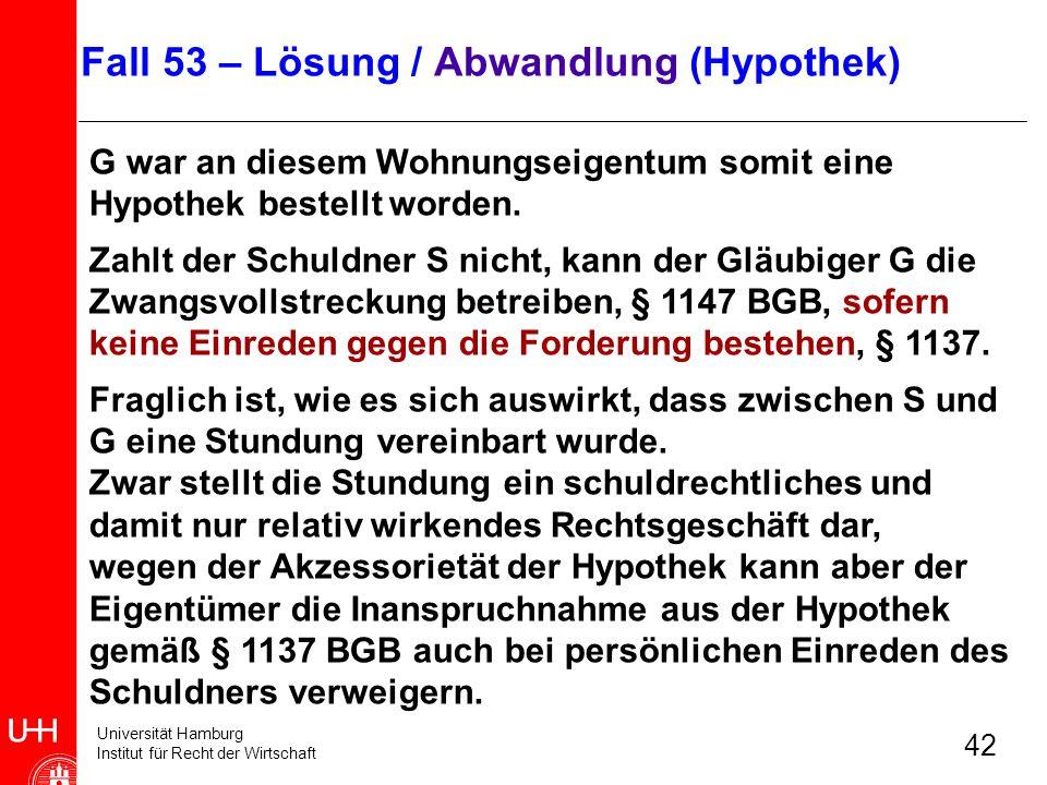 Universität Hamburg Institut für Recht der Wirtschaft 42 G war an diesem Wohnungseigentum somit eine Hypothek bestellt worden. Zahlt der Schuldner S n