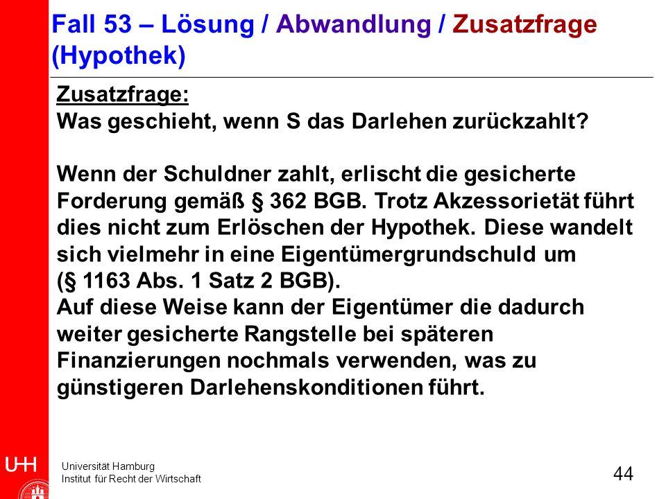 Universität Hamburg Institut für Recht der Wirtschaft 44 Zusatzfrage: Was geschieht, wenn S das Darlehen zurückzahlt? Wenn der Schuldner zahlt, erlisc