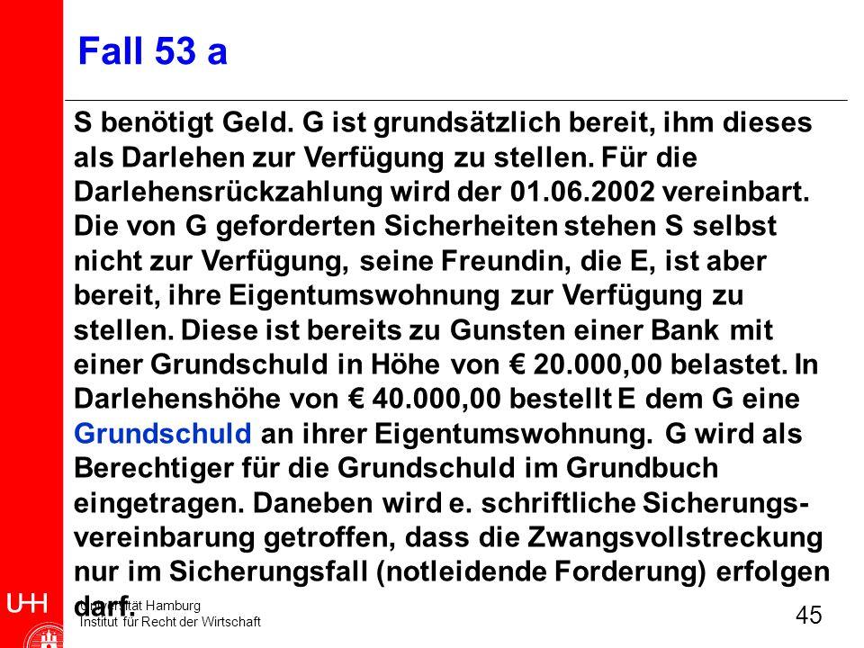 Universität Hamburg Institut für Recht der Wirtschaft 45 Fall 53 a S benötigt Geld. G ist grundsätzlich bereit, ihm dieses als Darlehen zur Verfügung