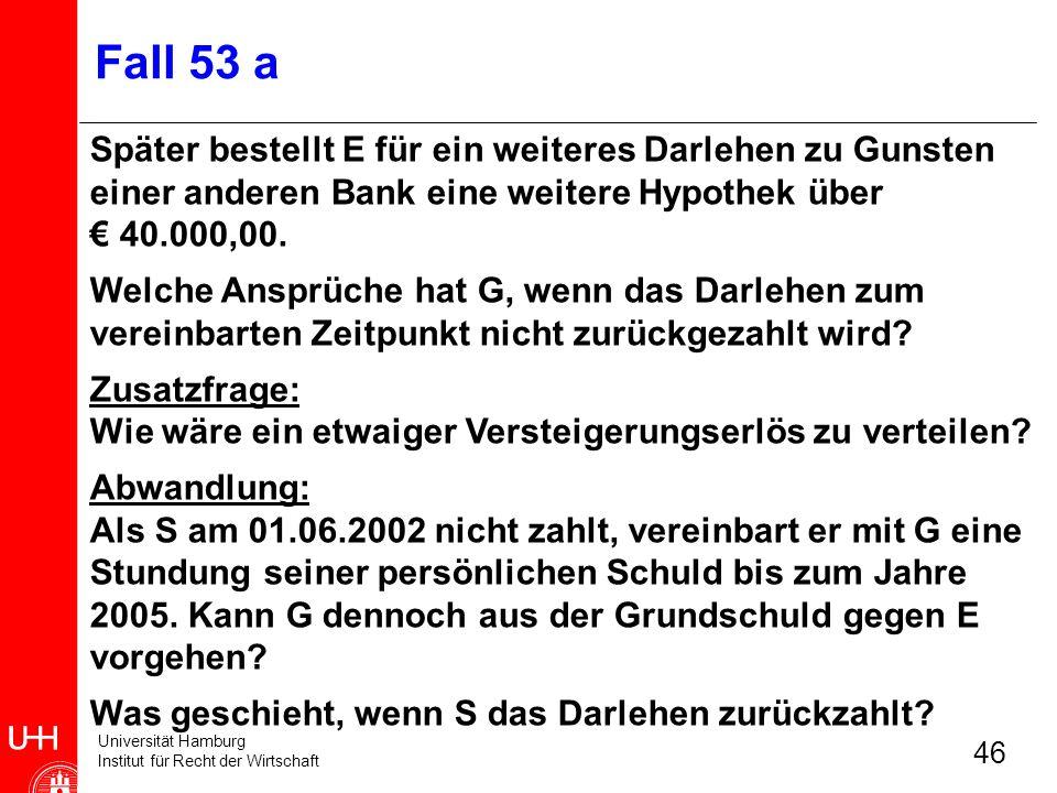 Universität Hamburg Institut für Recht der Wirtschaft 46 Fall 53 a Später bestellt E für ein weiteres Darlehen zu Gunsten einer anderen Bank eine weit