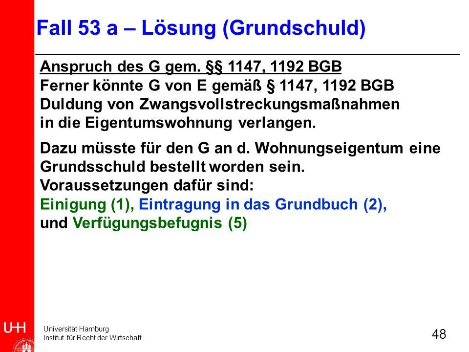 Universität Hamburg Institut für Recht der Wirtschaft 48 Anspruch des G gem. §§ 1147, 1192 BGB Ferner könnte G von E gemäß § 1147, 1192 BGB Duldung vo