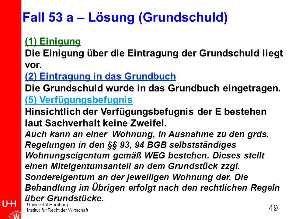 Universität Hamburg Institut für Recht der Wirtschaft 49 (1) Einigung Die Einigung über die Eintragung der Grundschuld liegt vor. (2) Eintragung in da