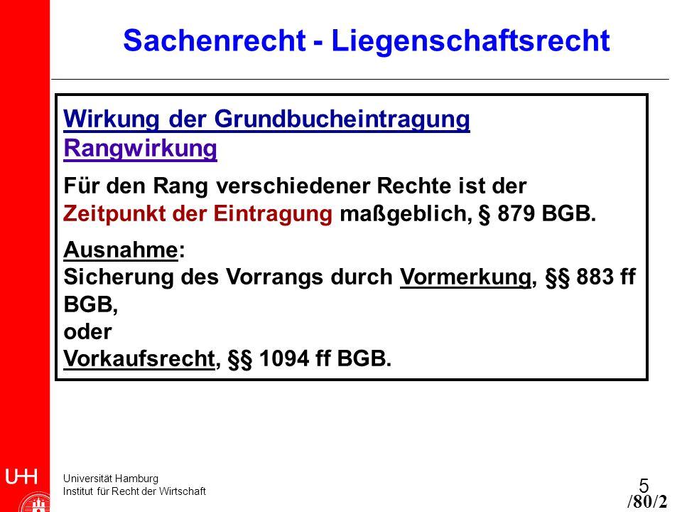 Universität Hamburg Institut für Recht der Wirtschaft 5 Sachenrecht - Liegenschaftsrecht Wirkung der Grundbucheintragung Rangwirkung Für den Rang vers