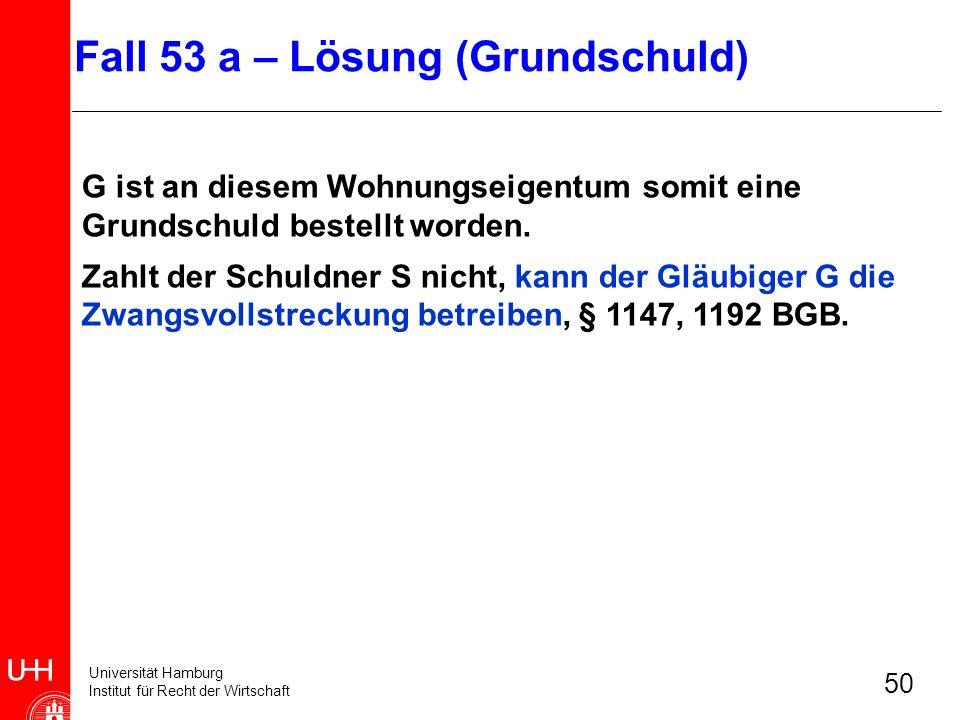 Universität Hamburg Institut für Recht der Wirtschaft 50 G ist an diesem Wohnungseigentum somit eine Grundschuld bestellt worden. Zahlt der Schuldner