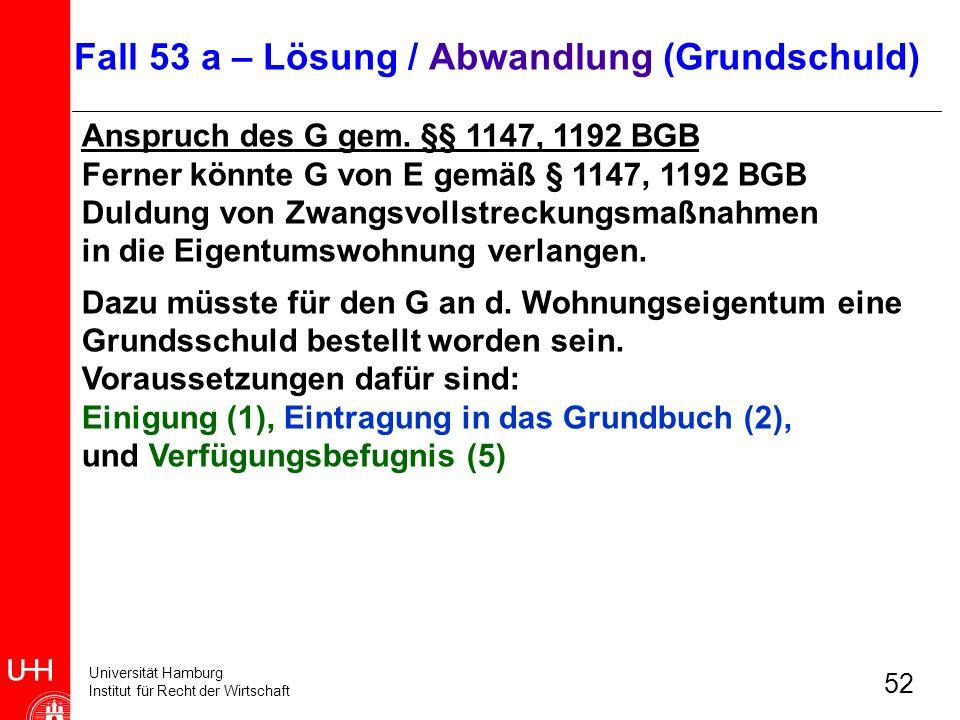 Universität Hamburg Institut für Recht der Wirtschaft 52 Anspruch des G gem. §§ 1147, 1192 BGB Ferner könnte G von E gemäß § 1147, 1192 BGB Duldung vo