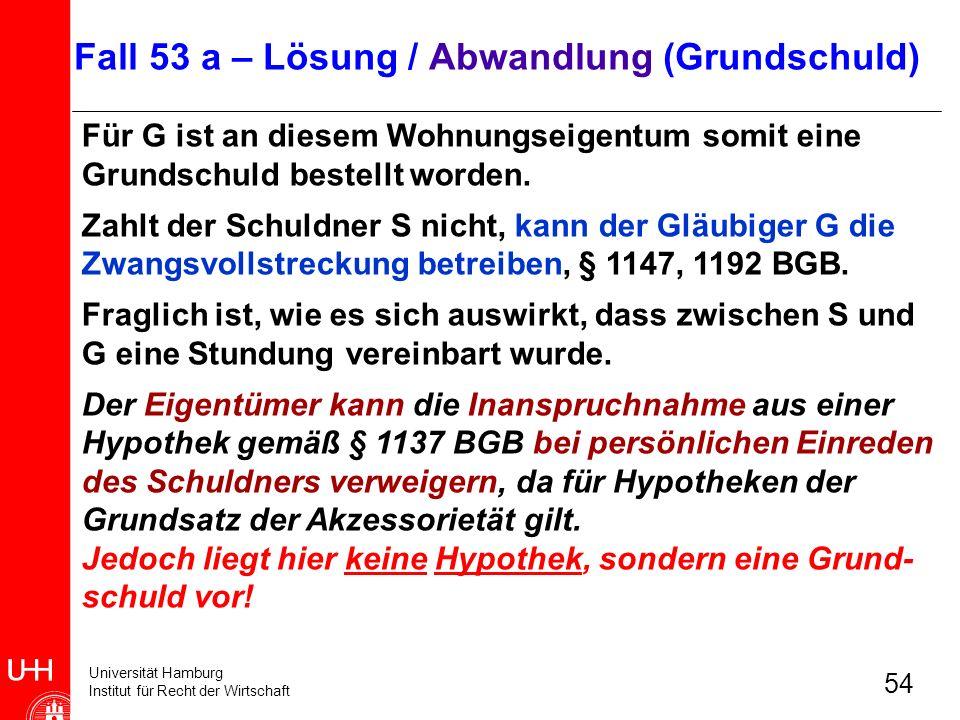 Universität Hamburg Institut für Recht der Wirtschaft 54 Für G ist an diesem Wohnungseigentum somit eine Grundschuld bestellt worden. Zahlt der Schuld