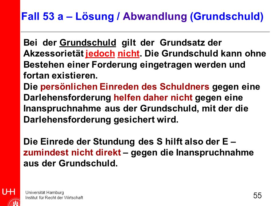 Universität Hamburg Institut für Recht der Wirtschaft 55 Bei der Grundschuld gilt der Grundsatz der Akzessorietät jedoch nicht. Die Grundschuld kann o