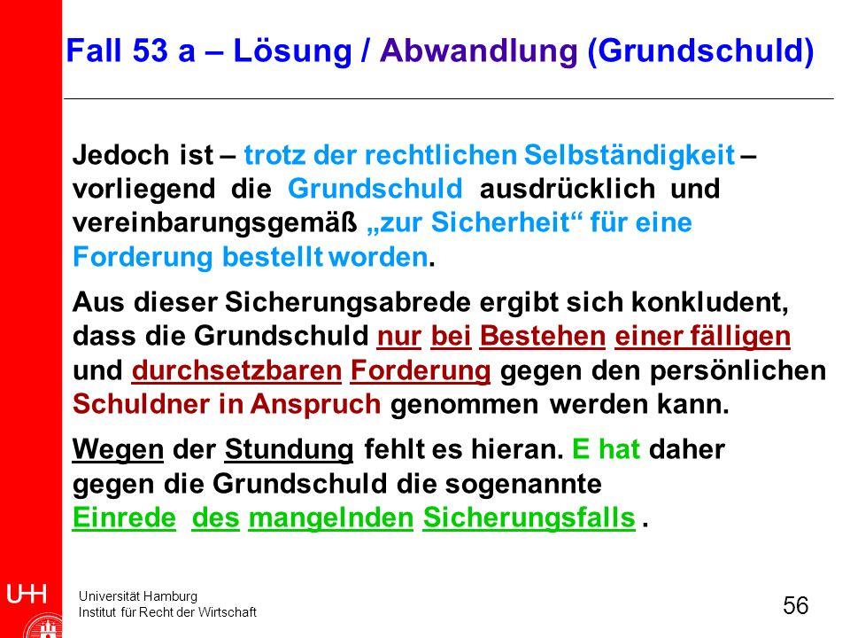 Universität Hamburg Institut für Recht der Wirtschaft 56 Jedoch ist – trotz der rechtlichen Selbständigkeit – vorliegend die Grundschuld ausdrücklich