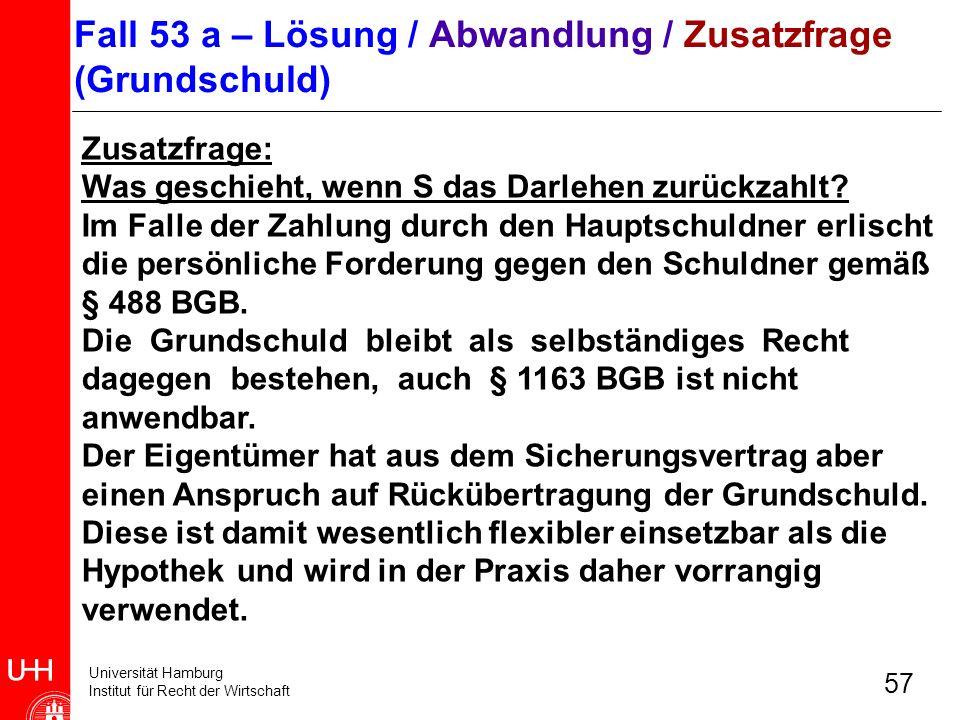 Universität Hamburg Institut für Recht der Wirtschaft 57 Zusatzfrage: Was geschieht, wenn S das Darlehen zurückzahlt? Im Falle der Zahlung durch den H