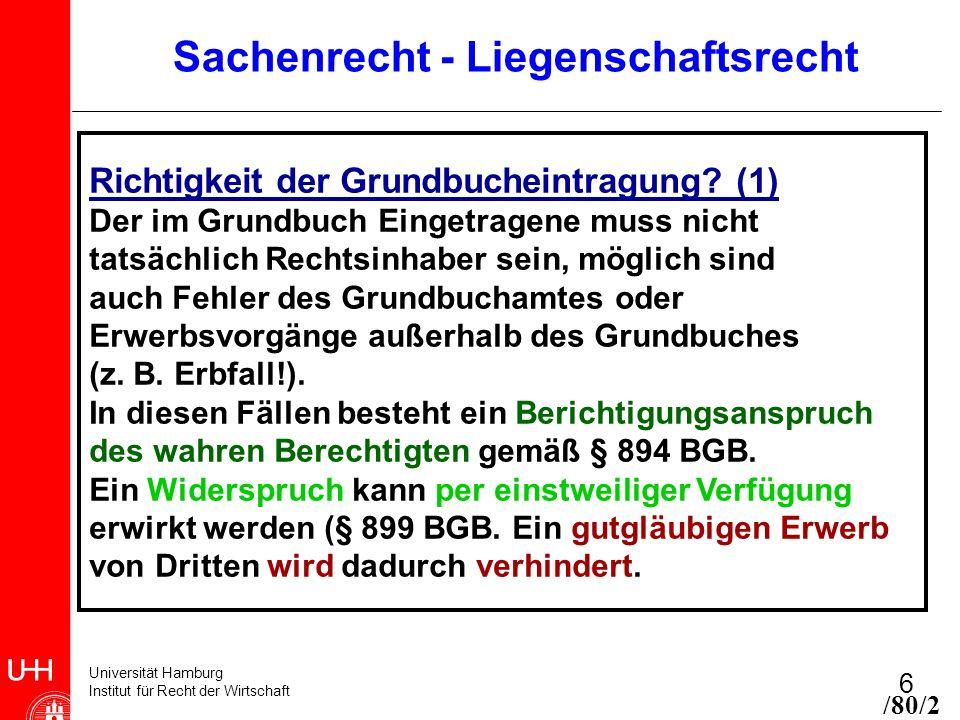 Universität Hamburg Institut für Recht der Wirtschaft 6 Sachenrecht - Liegenschaftsrecht Richtigkeit der Grundbucheintragung? (1) Der im Grundbuch Ein
