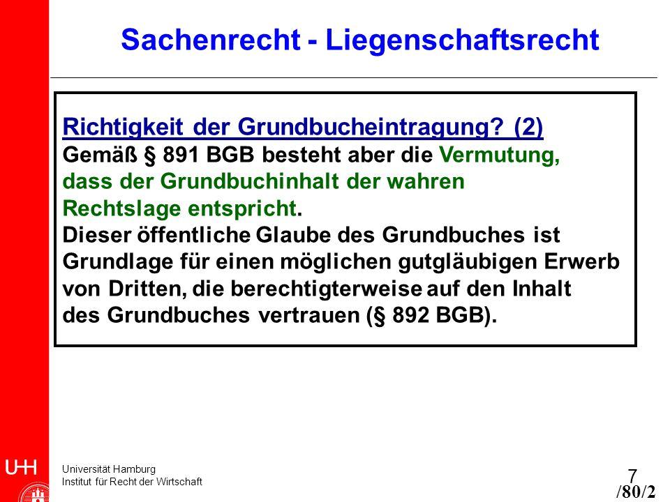 Universität Hamburg Institut für Recht der Wirtschaft 7 Sachenrecht - Liegenschaftsrecht Richtigkeit der Grundbucheintragung? (2) Gemäß § 891 BGB best