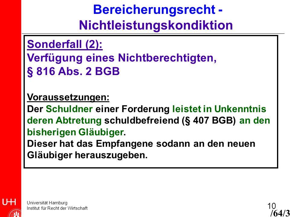 Universität Hamburg Institut für Recht der Wirtschaft 10 Bereicherungsrecht - Nichtleistungskondiktion Sonderfall (2): Verfügung eines Nichtberechtigt