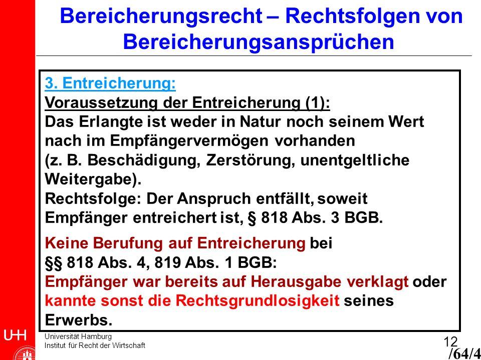 Universität Hamburg Institut für Recht der Wirtschaft 12 Bereicherungsrecht – Rechtsfolgen von Bereicherungsansprüchen 3. Entreicherung: Voraussetzung