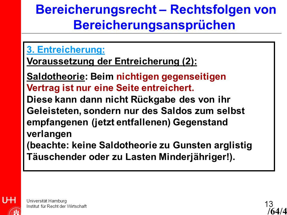 Universität Hamburg Institut für Recht der Wirtschaft 13 Bereicherungsrecht – Rechtsfolgen von Bereicherungsansprüchen 3. Entreicherung: Voraussetzung