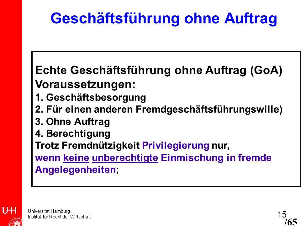 Universität Hamburg Institut für Recht der Wirtschaft 15 Geschäftsführung ohne Auftrag Echte Geschäftsführung ohne Auftrag (GoA) Voraussetzungen: 1. G
