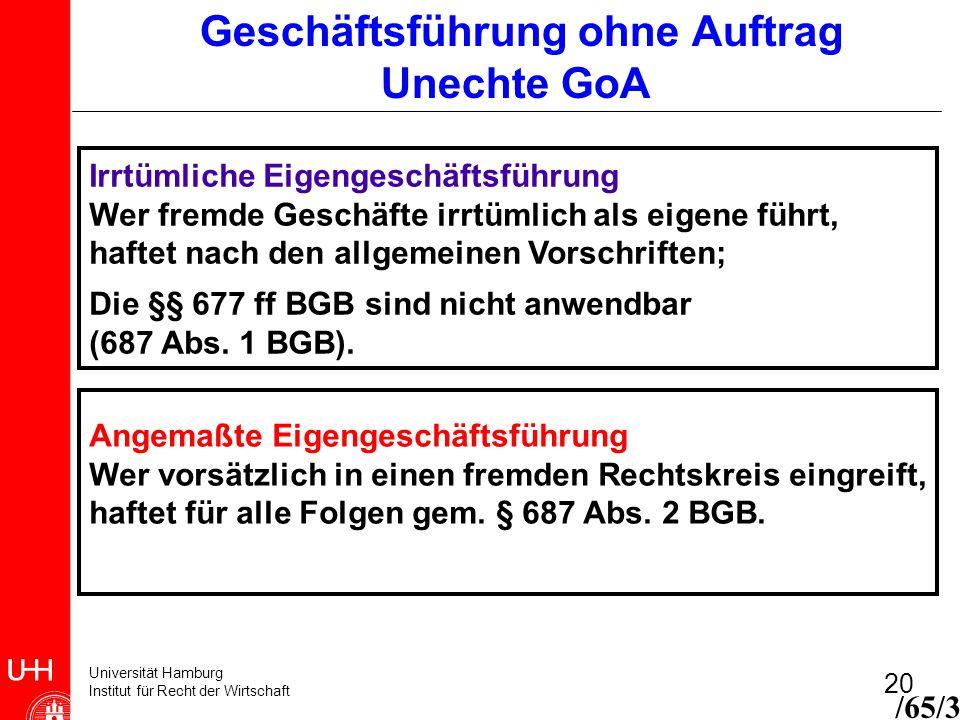Universität Hamburg Institut für Recht der Wirtschaft 20 Geschäftsführung ohne Auftrag Unechte GoA /65/3 Irrtümliche Eigengeschäftsführung Wer fremde