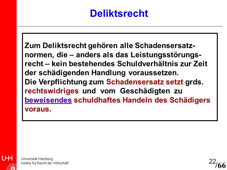 Universität Hamburg Institut für Recht der Wirtschaft 22 /66 Zum Deliktsrecht gehören alle Schadensersatz- normen, die – anders als das Leistungsstöru