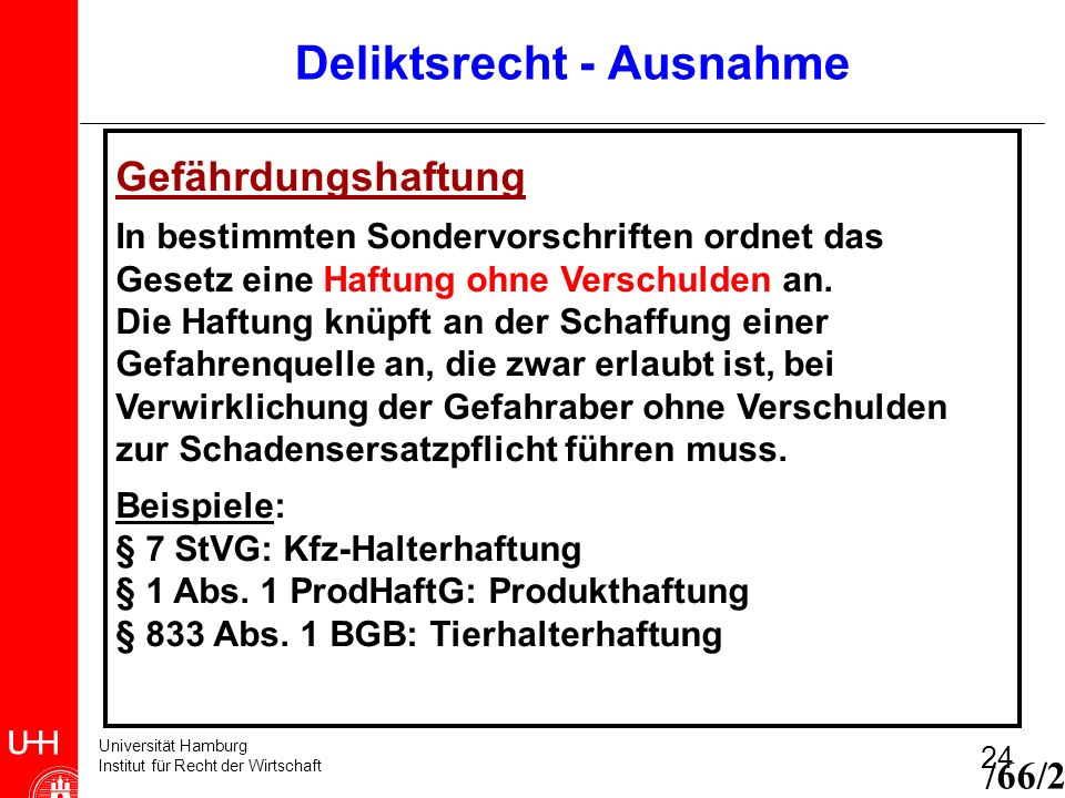 Universität Hamburg Institut für Recht der Wirtschaft 24 Deliktsrecht - Ausnahme /66/2 Gefährdungshaftung In bestimmten Sondervorschriften ordnet das