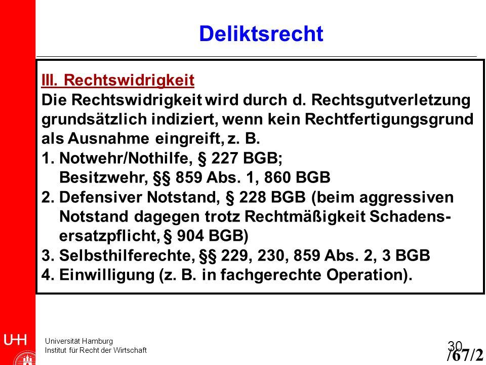 Universität Hamburg Institut für Recht der Wirtschaft 30 III. Rechtswidrigkeit Die Rechtswidrigkeit wird durch d. Rechtsgutverletzung grundsätzlich in