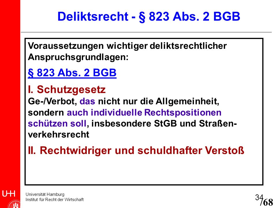 Universität Hamburg Institut für Recht der Wirtschaft 34 Voraussetzungen wichtiger deliktsrechtlicher Anspruchsgrundlagen: § 823 Abs. 2 BGB I. Schutzg