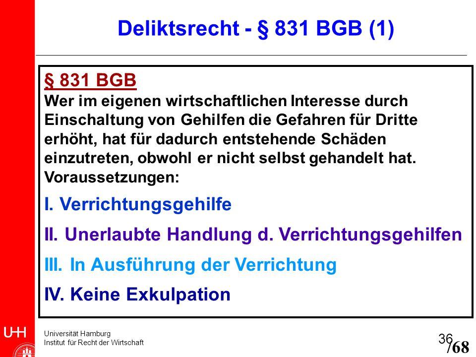 Universität Hamburg Institut für Recht der Wirtschaft 36 § 831 BGB Wer im eigenen wirtschaftlichen Interesse durch Einschaltung von Gehilfen die Gefah