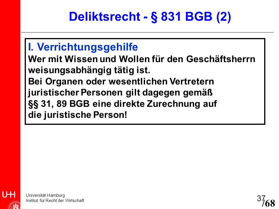 Universität Hamburg Institut für Recht der Wirtschaft 37 I. Verrichtungsgehilfe Wer mit Wissen und Wollen für den Geschäftsherrn weisungsabhängig täti