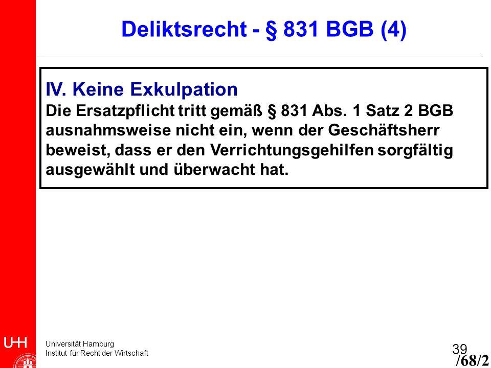 Universität Hamburg Institut für Recht der Wirtschaft 39 IV. Keine Exkulpation Die Ersatzpflicht tritt gemäß § 831 Abs. 1 Satz 2 BGB ausnahmsweise nic