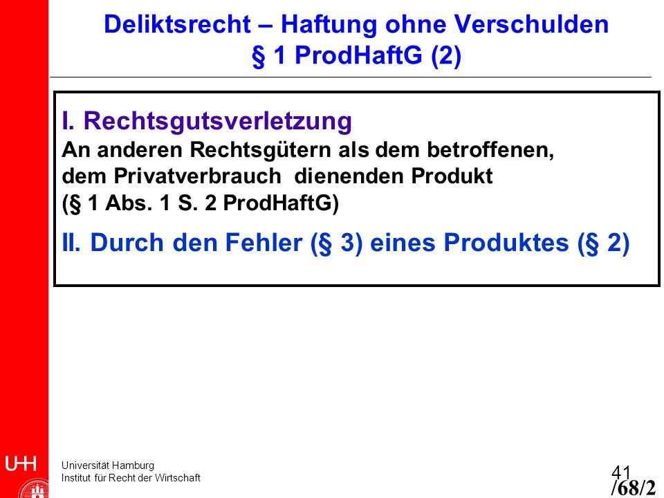 Universität Hamburg Institut für Recht der Wirtschaft 41 I. Rechtsgutsverletzung An anderen Rechtsgütern als dem betroffenen, dem Privatverbrauch dien