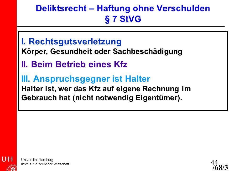 Universität Hamburg Institut für Recht der Wirtschaft 44 I. Rechtsgutsverletzung Körper, Gesundheit oder Sachbeschädigung II. Beim Betrieb eines Kfz I
