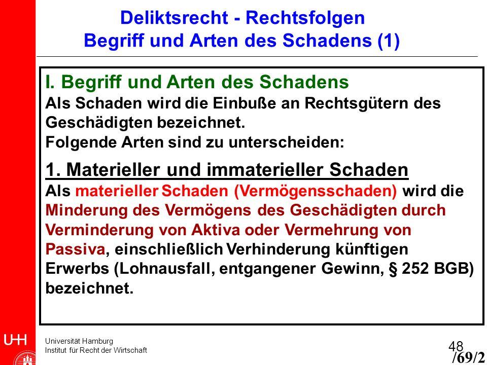 Universität Hamburg Institut für Recht der Wirtschaft 48 I. Begriff und Arten des Schadens Als Schaden wird die Einbuße an Rechtsgütern des Geschädigt
