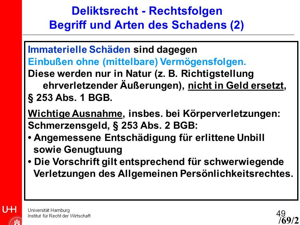 Universität Hamburg Institut für Recht der Wirtschaft 49 Immaterielle Schäden sind dagegen Einbußen ohne (mittelbare) Vermögensfolgen. Diese werden nu
