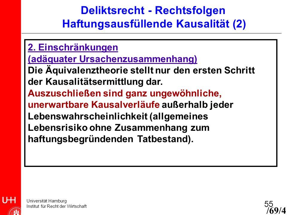 Universität Hamburg Institut für Recht der Wirtschaft 55 2. Einschränkungen (adäquater Ursachenzusammenhang) Die Äquivalenztheorie stellt nur den erst