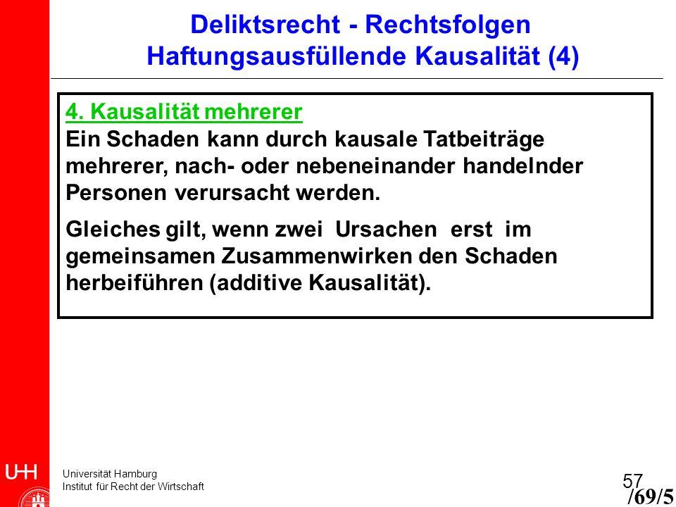 Universität Hamburg Institut für Recht der Wirtschaft 57 4. Kausalität mehrerer Ein Schaden kann durch kausale Tatbeiträge mehrerer, nach- oder nebene