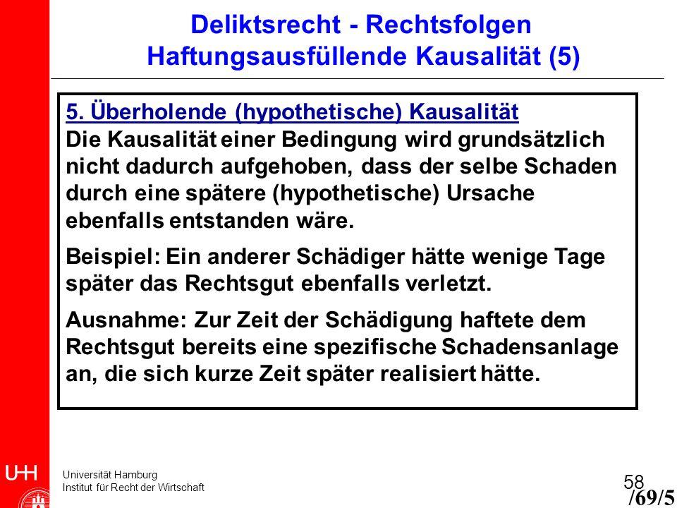 Universität Hamburg Institut für Recht der Wirtschaft 58 5. Überholende (hypothetische) Kausalität Die Kausalität einer Bedingung wird grundsätzlich n