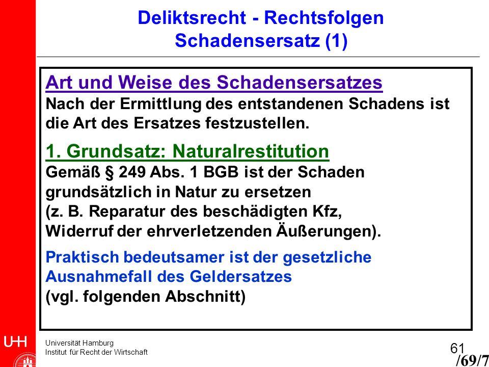 Universität Hamburg Institut für Recht der Wirtschaft 61 Art und Weise des Schadensersatzes Nach der Ermittlung des entstandenen Schadens ist die Art