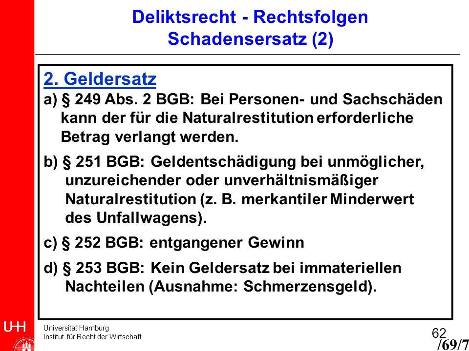 Universität Hamburg Institut für Recht der Wirtschaft 62 2. Geldersatz a) § 249 Abs. 2 BGB: Bei Personen- und Sachschäden kann der für die Naturalrest