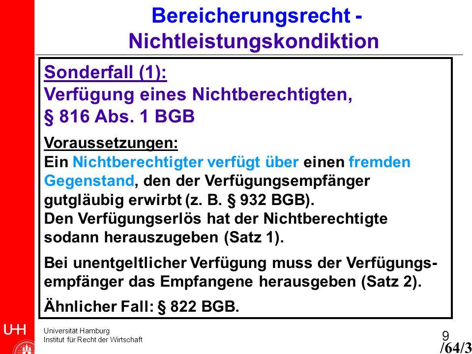 Universität Hamburg Institut für Recht der Wirtschaft 9 Bereicherungsrecht - Nichtleistungskondiktion Sonderfall (1): Verfügung eines Nichtberechtigte