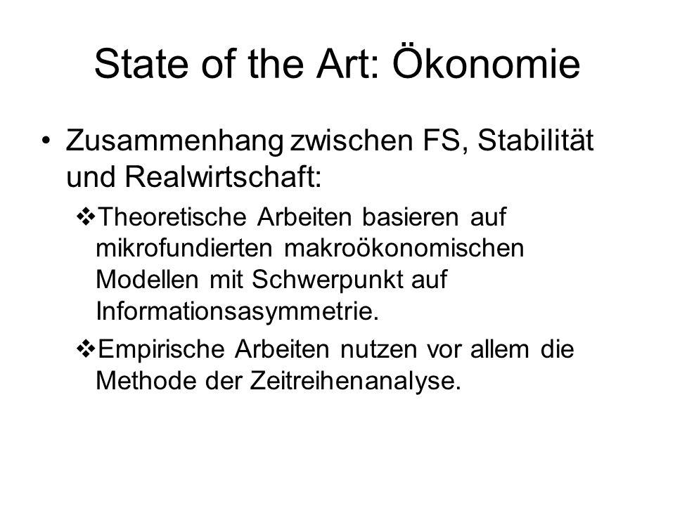 State of the Art: Ökonomie Erklärung der Diversität von Finanzsystemen Es existieren lediglich Partialanalysen.